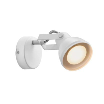 biały kinkiet reflektorek z regulowanym kloszem