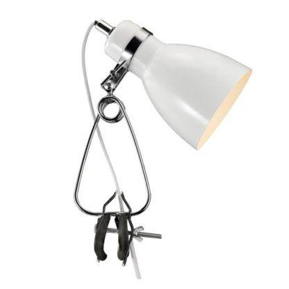 biała lampa biurkowa na klips