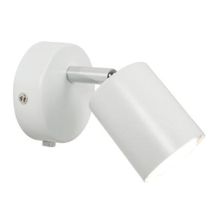 nieduży, biały kinkiet z prostym reflektorkiem, nowoczesne oświetlenie punktowe