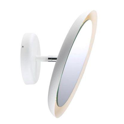okrągły kinkiet z lusterkiem, kinkiet do łazienki, biały kinkiet z lusterkiem