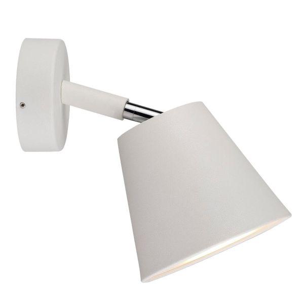 nowoczesny kinkiet z dużym kloszem, biały, minimalistyczny
