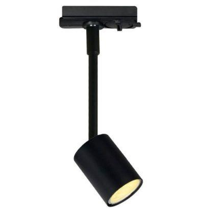 czarna lampa z metalowym reflektorem