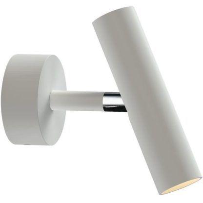 biały kinkiet z podłużnym reflektorem tubą
