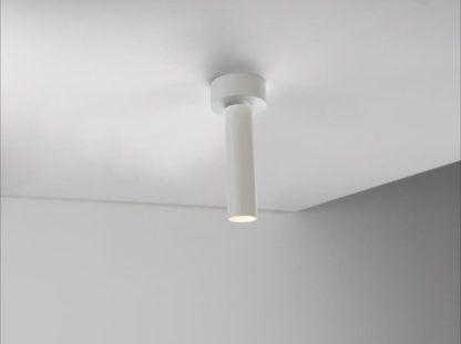 kinkiet i lampa sufitowa w jednym, biały metal, styl nowoczesny
