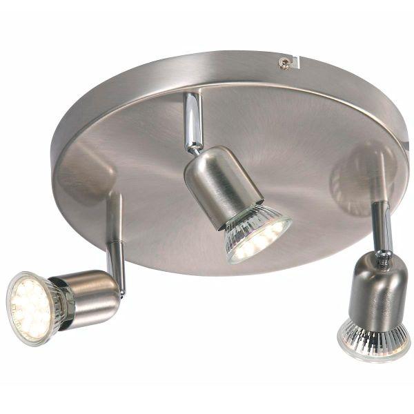 srebrna, okrągła lampa sufitowa z trzema reflektorkami