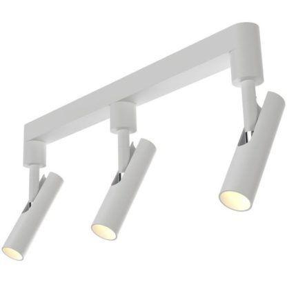 biała lampa sufitowa w nowoczesnym stylu minimalistycznym, trzy klosze regulowane w kształcie tuby