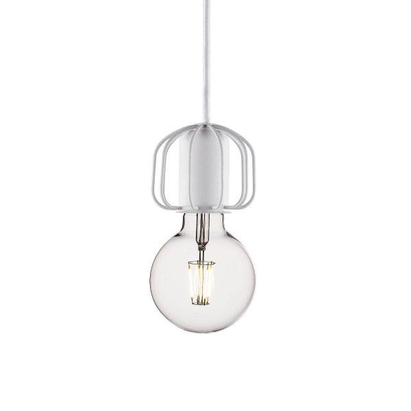 białe, dekoracyjne zawieszenie do lampy wiszącej nowoczesnej