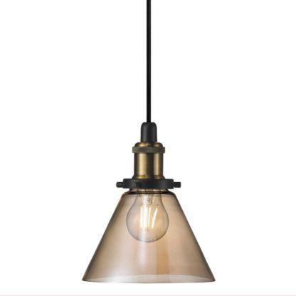 industrialna lampa wisząca z barwionego szkła bursztynowa