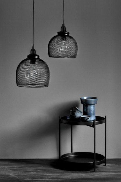druciana lampa wisząca industrialna czarna