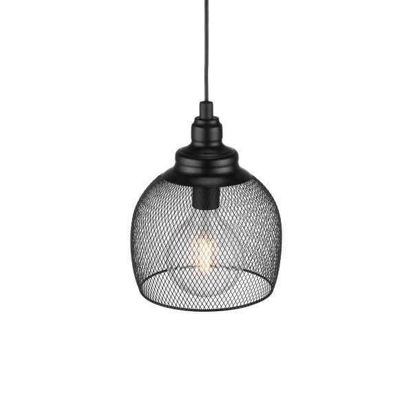 czarna lampa wisząca z drucianej siatki