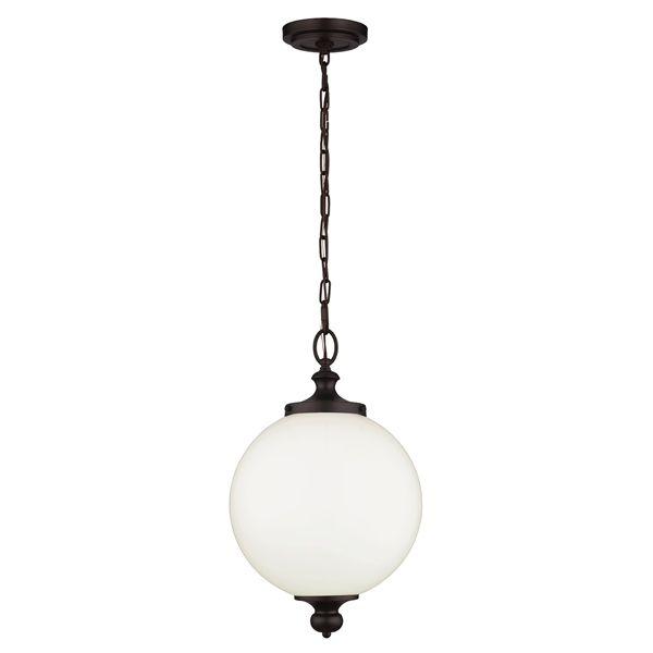 klasyczna lampa wisząca okrągła, szklana