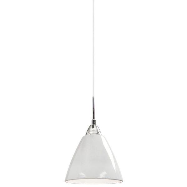 biała lampa wisząca, nieduży, lakierowany klosz, lampa do salonu