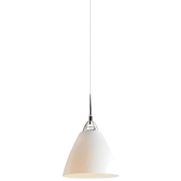 nowoczesna lampa wisząca z mlecznym kloszem - aranżacja kuchnia