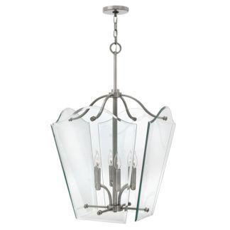 Dekoracyjna lampa wisząca Vintage - duża - szkło, nikiel