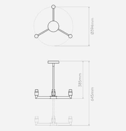 minimalistyczny żyrandol na 3 żarówki