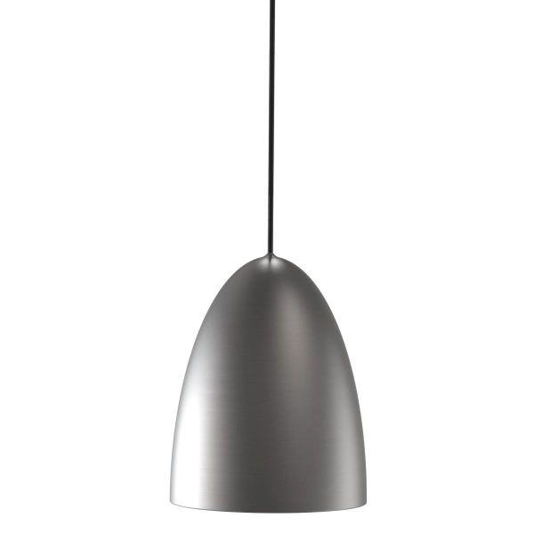 nowoczesna, stalowa lampa wisząca z otwartym na dole kloszem