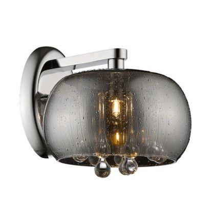 szary kinkiet z efektem deszczu na szklanym kloszu, w środku dekoracyjne kryształki