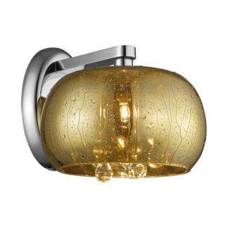 Szklany kinkiet Rain - Zuma Line - dekoracyjne kryształki, złoty