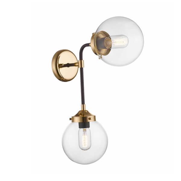 industrialny kinkiet ze złotą podstawą i dwoma kloszami z bezbarwnego szkła