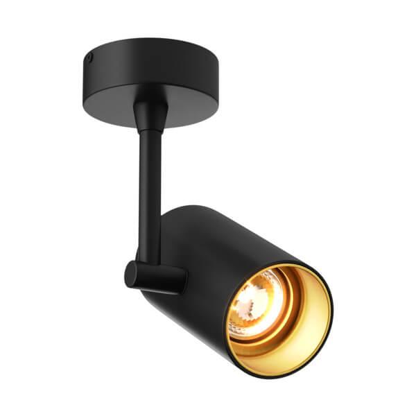 nowoczesny reflektor, lampa sufitowa, czarny metal ze złotym środkiem, możliwość regulowania klosza