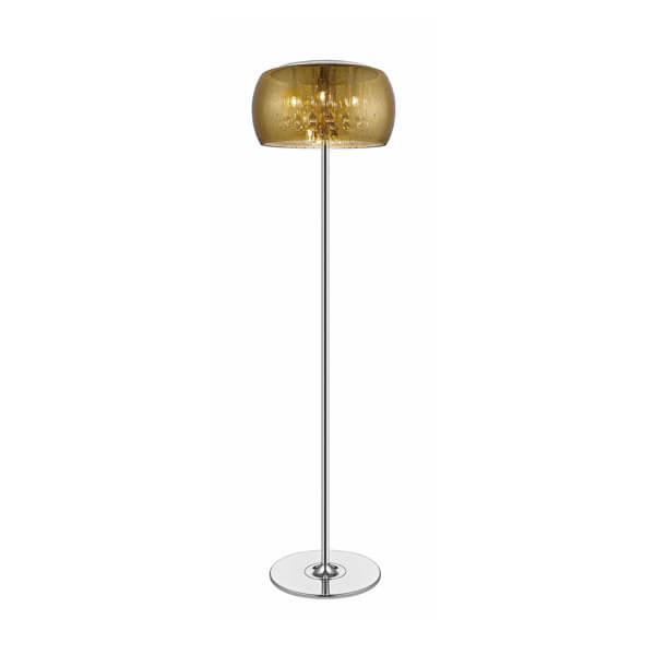 złota lampa podłogowa glamour ze szklanym kloszem