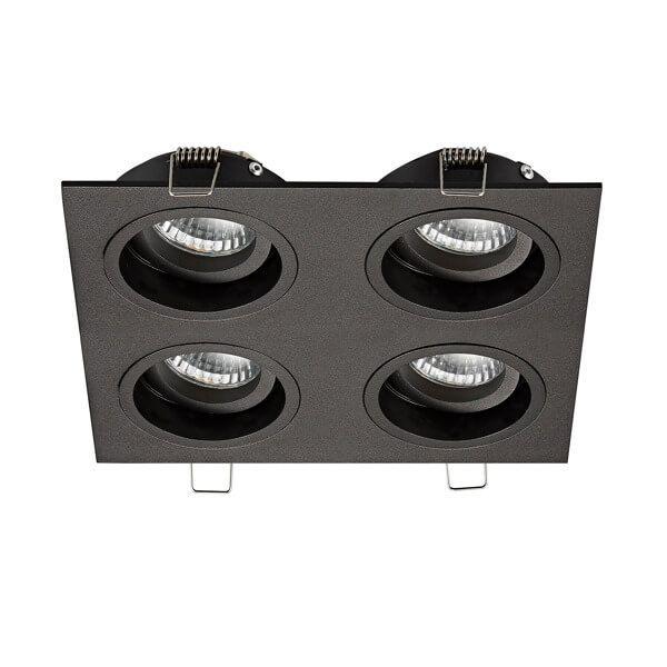 czarna lampa sufitowa, poczwórne oczko sufitowe wpuszczane w sufit, regulowane reflektorki