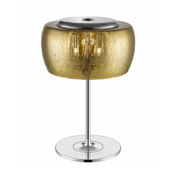 lampa stołowa ze złotym, szklanym kloszem z efektem deszczu. Klosz zamknięty na górze