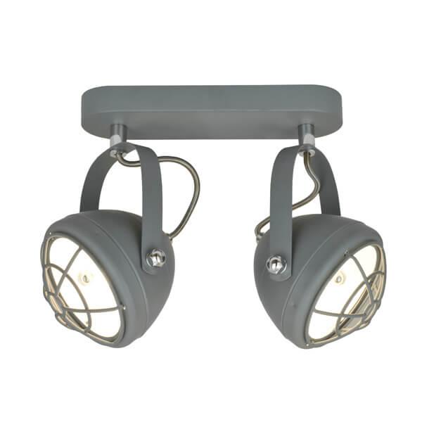 szara lampa sufitowa, dwa reflektory w stylu industrialnym