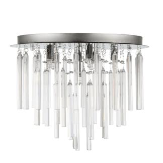Stylowy plafon Biagio - Zuma Line - podłużne kryształki, srebrna podstawa