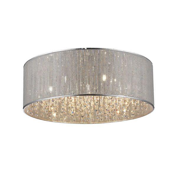 efektowny plafon srebrny ozdobiony kryształkami