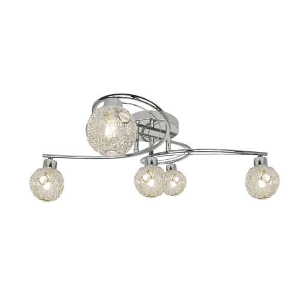srebrna lampa sufitowa z jasnymi, szklanymi kloszami