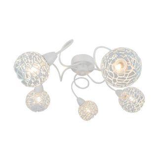 Elegancka lampa sufitowa Olten - Zuma Line - biała, ażurowe klosze