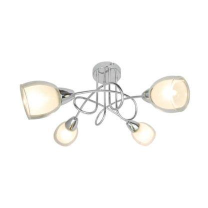 nowoczesna lampa sufitowa srebrna ze szklanymi kloszami
