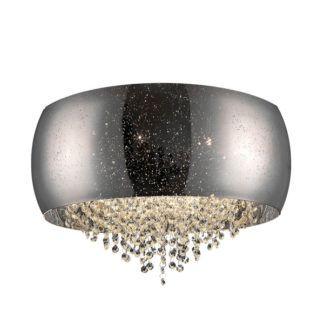 Srebrna lampa sufitowa Vista - Zuma Line - dekoracyjne kryształki