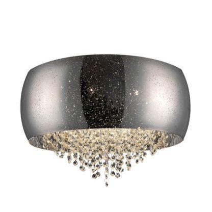 srebrny, połyskujący plafon z kryształkami