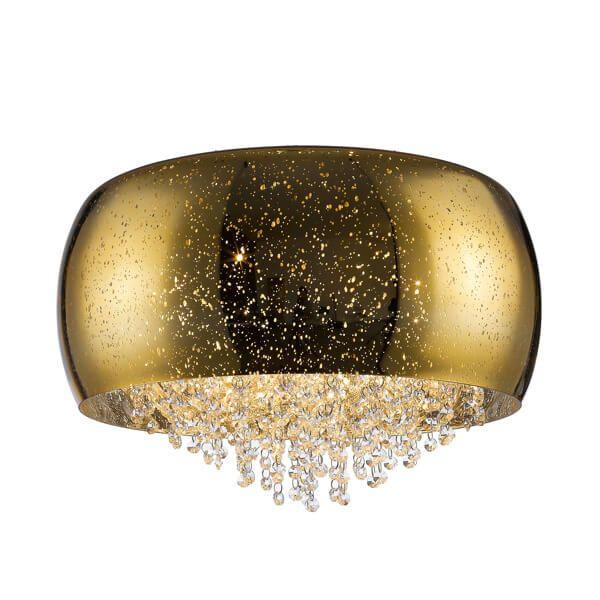 dekoracyjny, złoty plafon połyskujący z wystającymi sznurkami kryształków