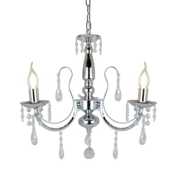dekoracyjna lampa żyrandol z klasycznymi świecznikami, srebrna lampa z dekoracyjnymi kryształkami