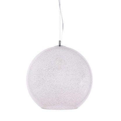 lampa wisząca z kloszem kulą ze szkła z drobinkami