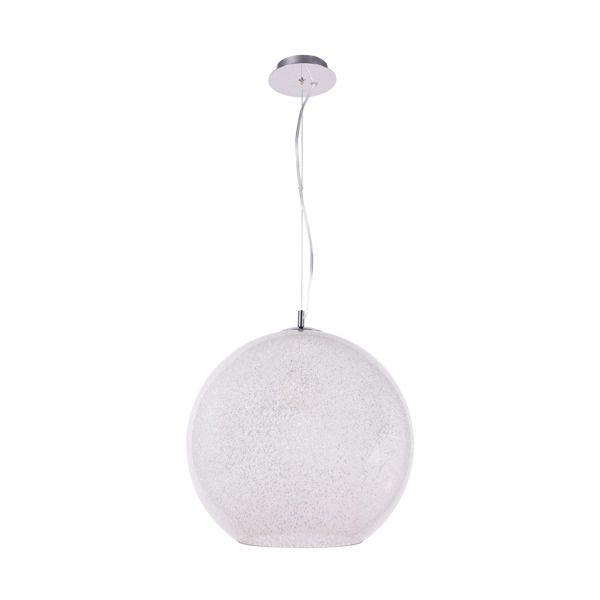 biała lampa wisząca szklana kula