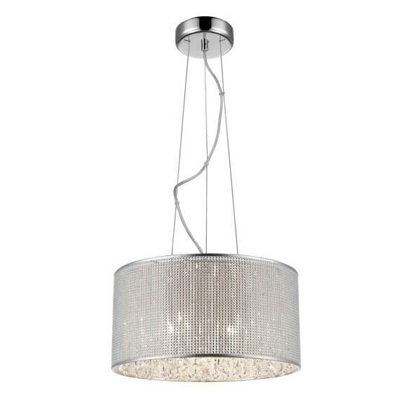 lampa wisząca w stylu glamour, połyskujący klosz z kryształkami w środku
