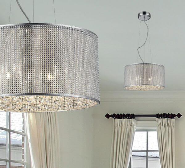 Lampa Wisząca Blink Zuma Line Połyskujący Klosz Kryształki
