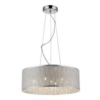 Duża lampa wisząca Blink - Zuma Line - połyskujący klosz, kryształki