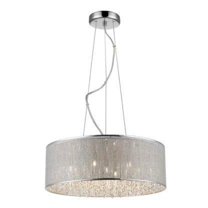 połyskująca lampa wisząca z kryształkami wewnątrz klosza