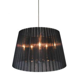 Gustowna lampa wisząca Blois - Zuma Line - czarny, półtransparentny abażur