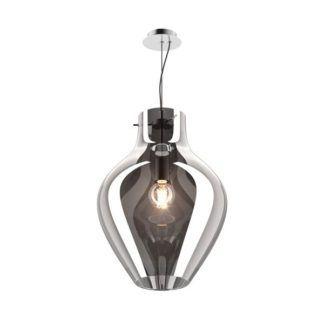 Duża lampa wisząca Bresso - Zuma Line - szklany klosz, szary