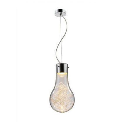lampa wisząca w kształcie dużej żarówki, w środku dekoracyjne druciki odbijające światło
