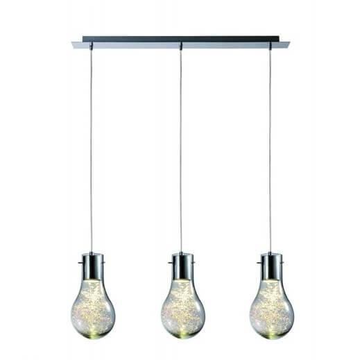 potrójna lampa wisząca, lampa w kształcie żarówki - aranżacja nowoczesny salon