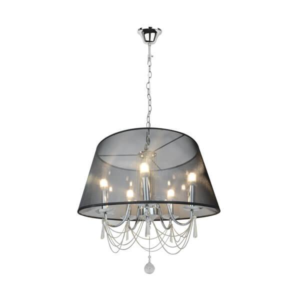 elegancka lampa wisząca glamour, dekoracyjne łańcuszki i kryształki, czarny, półprzezroczysty abażur
