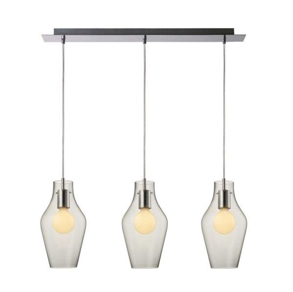 lampa wisząca ze szklanymi kloszami na srebrnej, długiej podsufitce