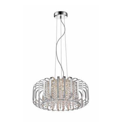 lampa wisząca z ażurowym, metalowym kloszem i sznurkami kryształków wewnątrz